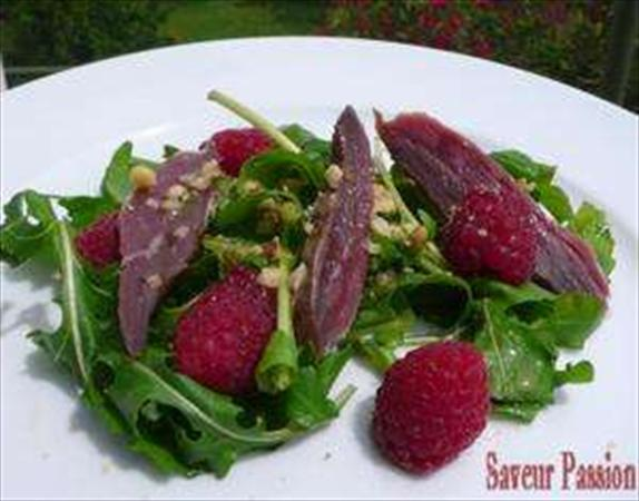 Roquette, magret et framboises, tout en fraîcheur ! &url=http://saveurpassion.over-blog.com/article-20327647.html Photo:...