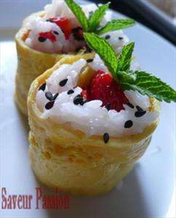 Egg roll à la fraise