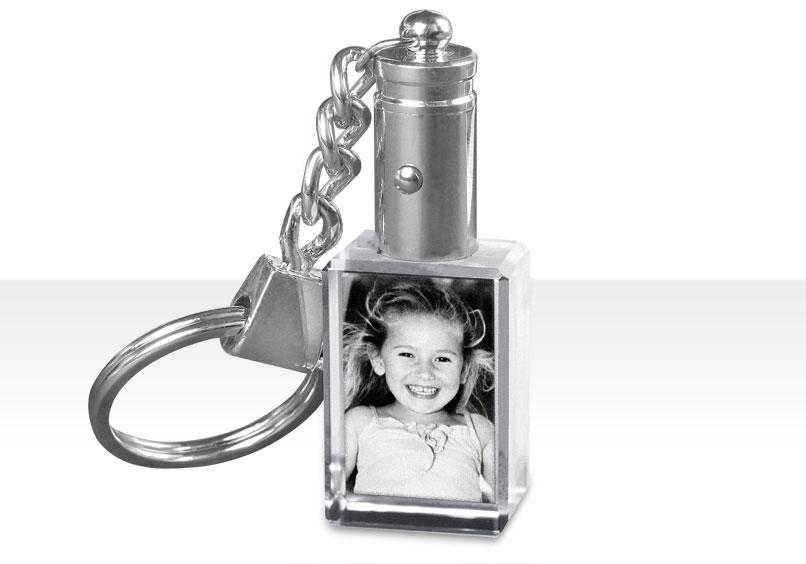 Porteclés En Cristal Avec Gravure Photo Et éclairage LED Bleu - Porte clé avec photo